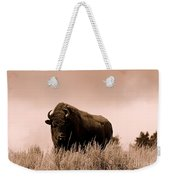 Bison Cow On An Overlook In Yellowstone National Park Sepia Weekender Tote Bag