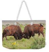 Bison Fight In Grand Teton National Park Weekender Tote Bag