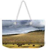 Bison Grazing Along The Yellowstone River In Hayden Valley Weekender Tote Bag