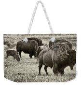Bison Herd Bw Weekender Tote Bag