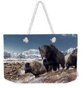 Bison Herd In Winter Weekender Tote Bag