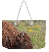 Bison In The Flowers Ingrand Teton National Park Weekender Tote Bag