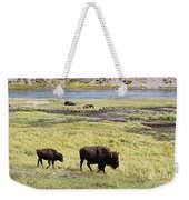 Bison Mother And Calf In Yellowstone National Park Weekender Tote Bag