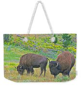 Bison Pair In Hayden Valley In Yellowstone National Park-wyoming  Weekender Tote Bag