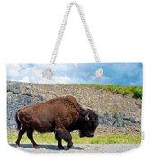 Bison Plodding Along On Alaska Highway-bc-canada Weekender Tote Bag