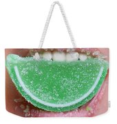 Biting Into Candy Lime Weekender Tote Bag
