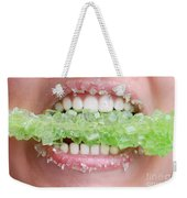 Biting Into Green Rock Candy  Weekender Tote Bag
