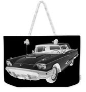 Black And White 1958  Ford Thunderbird  Car Pop Art Weekender Tote Bag