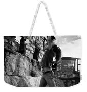 Black And White Candlestick Weekender Tote Bag