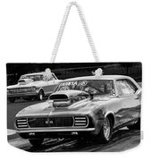 Black And White Chevy Camaro Ss Hotrod Weekender Tote Bag
