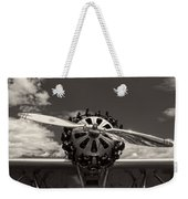 Black And White Close-up Of Airplane Engine Weekender Tote Bag