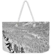 Black And White Lake Tahoe California Covered In Snow During The Winter Weekender Tote Bag