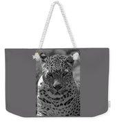 Black And White Leopard Portrait  Weekender Tote Bag