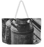 Black And White Old Prairie Homestead Vintage Creamery Cans Near The Badlands Weekender Tote Bag