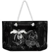 Black And White Orchid Flowers Growing Through Old Wooden Pictur Weekender Tote Bag