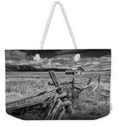 Black And White Photo Of A Wood Fence At The John Moulton Farm Weekender Tote Bag