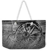 Black And White Photo Of An Old Broken Wheel Of A Farm Wagon Weekender Tote Bag