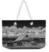 Black And White Photo Of The T.a. Moulton Barn In The Grand Tetons Weekender Tote Bag