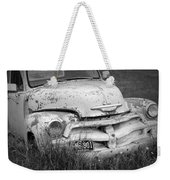Black And White Photograph A Vintage Junk Chevy Pickup Truck Weekender Tote Bag