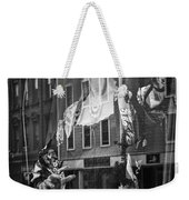 Black And White Photograph Of A Mannequin In Lingerie In Storefront Window Display  Weekender Tote Bag