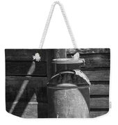 Black And White Photograph Of Vintage Creamery Can By The Old Homestead In 1880 Town Weekender Tote Bag