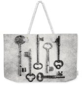 Black And White Photograph Of Vintage Skeleton Keys For Rustic Home Decor Weekender Tote Bag