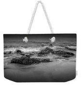Black And White Photograph Of Waves Crashing On The Shore At Sand Beach Weekender Tote Bag