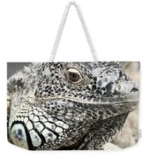 Black And White Saurian Animal Nature Iguana Weekender Tote Bag