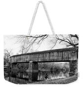Black And White Schofield Ford Covered Bridge Weekender Tote Bag