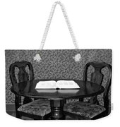 Black And White Sitting Table Weekender Tote Bag