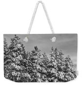Black And White Snow Covered Trees Weekender Tote Bag