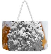 Black And White Snow Leaf Weekender Tote Bag