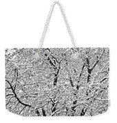 Black And White Snowy Tree Branches Abstract Six Weekender Tote Bag