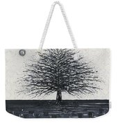 Black And White Snow Cold Winter Tree Weekender Tote Bag