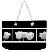 Black And White Tulip Triptych Weekender Tote Bag