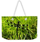 Black And White Winged Dragonfly Weekender Tote Bag