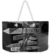 Black And White World Directions Weekender Tote Bag