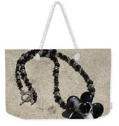Black Banded Onyx Wire Wrapped Flower Pendant Necklace 3634 Weekender Tote Bag