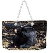 Black Bear Guarding Food Weekender Tote Bag
