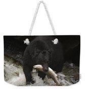 Black Bear With Salmon Weekender Tote Bag