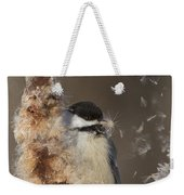 Black-capped Chickadee In Winter Weekender Tote Bag by Mircea Costina Photography