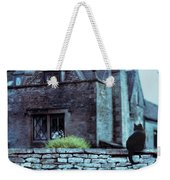 Black Cat On A Stone Wall By House Weekender Tote Bag