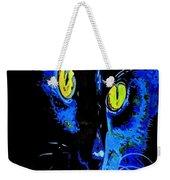 Black Cat Portrait With Happy Halloween Greeting  Weekender Tote Bag