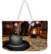 Black Cowboy Hat In An Old Barn Weekender Tote Bag by Olivier Le Queinec