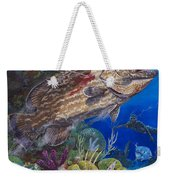 Black Grouper Hole Weekender Tote Bag by Carey Chen