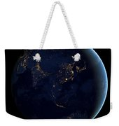 Black Marble - Asia And Australia City Lights Weekender Tote Bag