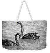Black Swans - Black And White Textures Weekender Tote Bag