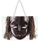 Black Tribal Face Mask On Isolated On White Weekender Tote Bag