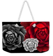 Black White Red Roses Abstract Weekender Tote Bag