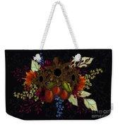 Black With Flowers And Fruit Weekender Tote Bag